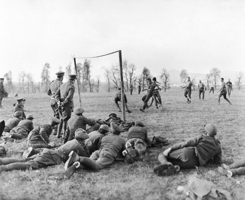 Officers verses other ranks football match played by members of the 26th Divisional Ammunition Train near the city of Salonika, Christmas Day 1915.