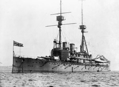 The pre-Dreadnought battleship HMS AGAMEMNON, which served in the Mediterranean during the First World War.