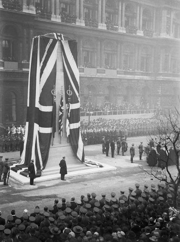 Unveiling of the permanent Cenotaph at Whitehall, by His Majesty King George V, 11 November 1920.