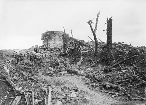 A captured German pillbox nicknamed 'Gibraltar' in the ruins of Pozieres, Somme, 20th September.