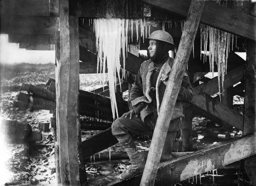 Icicles hanging from the roof of a dug-out Bernafay Wood, Somme, November 1916.