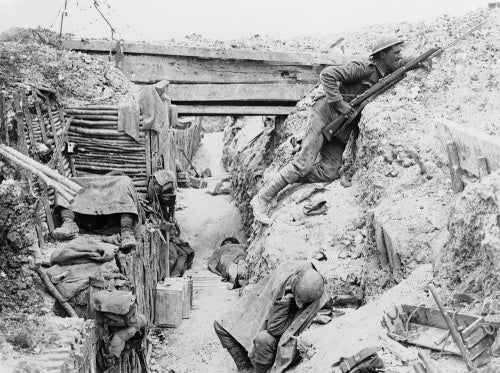 Soldiers of 'A' Company, 11th Battalion, the Cheshire Regiment, occupy a captured German trench at Ovillers-la-Boisselle on the Somme.