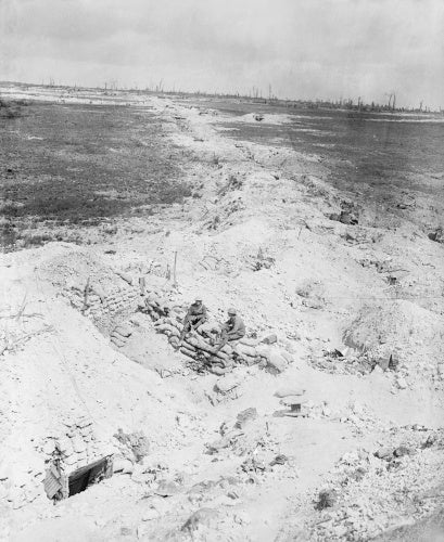 Old German trench occupied by British troops. View from Albert-Pozieres road over Ovillers, Somme, September 1916.