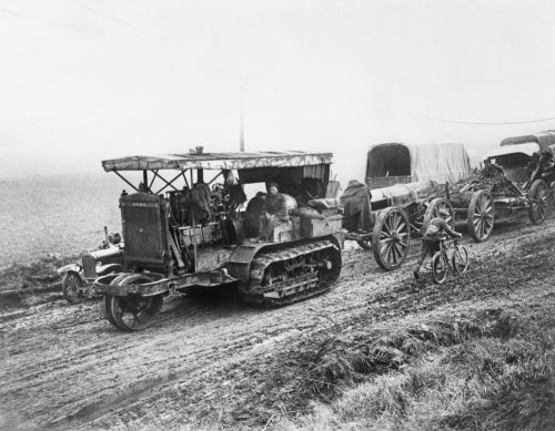 Holt caterpillar tractor hauling 9.2