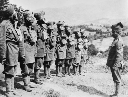 Indian troops on the Salonika Front at a gas mask drill.