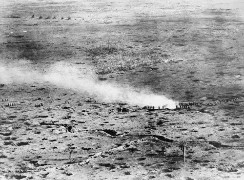 Troops advancing across the Somme battlefield. Photo taken from an aeroplane.