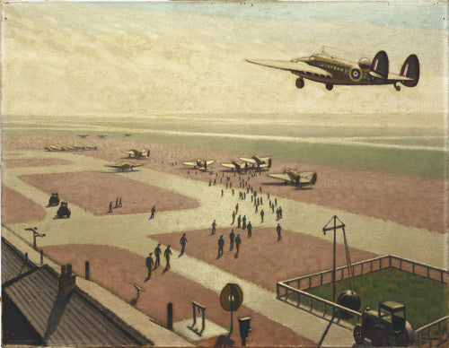 A view looking down on an aerodrome with a stream of pilots crossing the tarmac to reach their planes which stand in the distance. In the upper left a Lockheed Hudson is coming in to land.