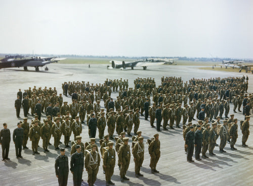 Paratroops on parade outside a hangar at No 1 Parachute Training School, Ringway, Manchester.