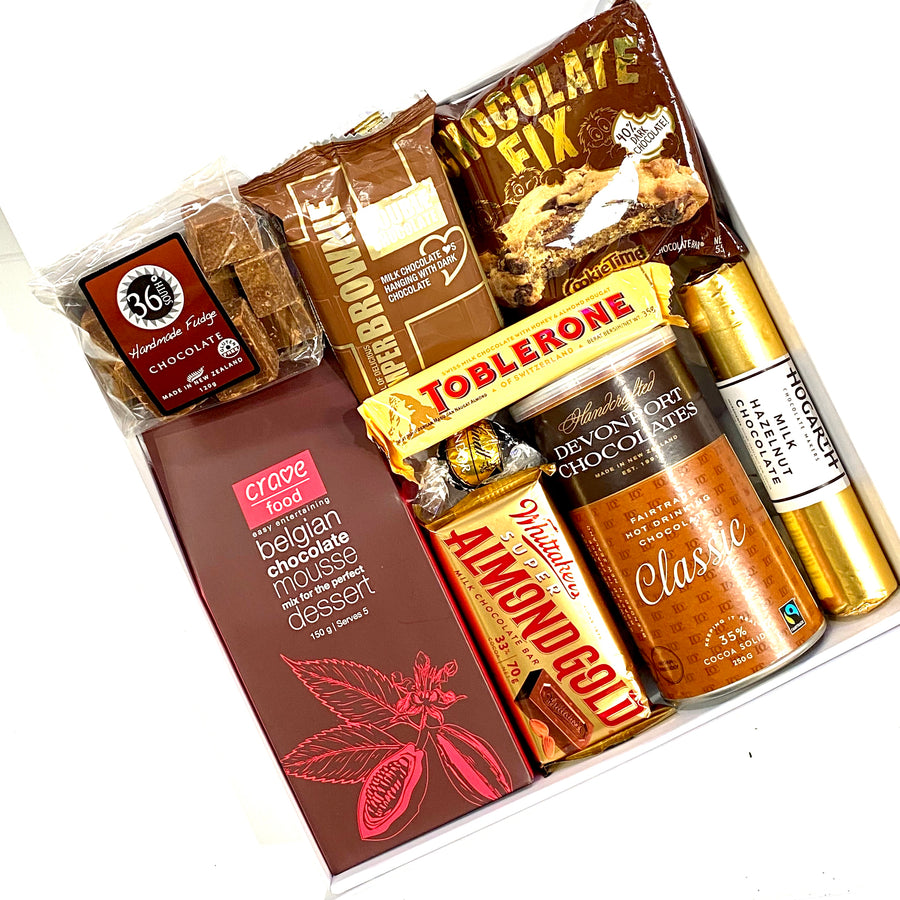 Luxe Chocolate Treats Gift Box includes Toblerone, Almond Gold, Chocolate Confectionary