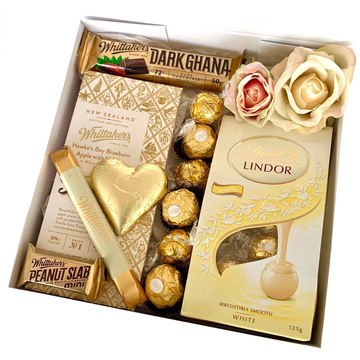 Luxe White-Gift Boxes and sweet treats New Zealand wide-Celebration Box NZ