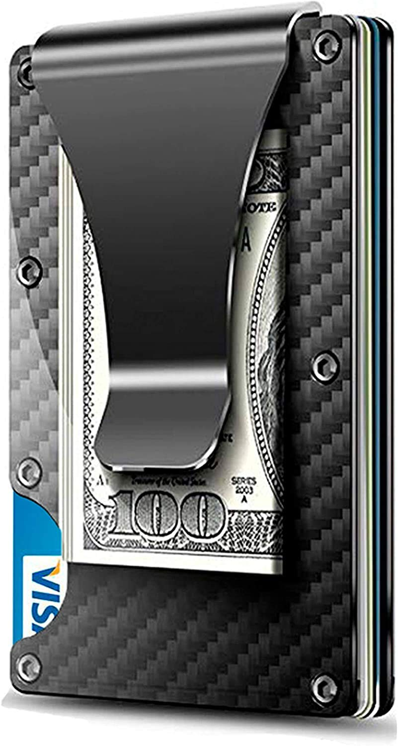 WeeDee Minimalist Carbon Fiber Wallet - Mens Slim Wallet Credit Card Holder Money Clip with RFID Blocking Technology,Front Pocket Wallets for Men