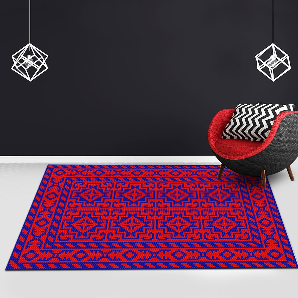 Hir - The red blue hand woven living area rug
