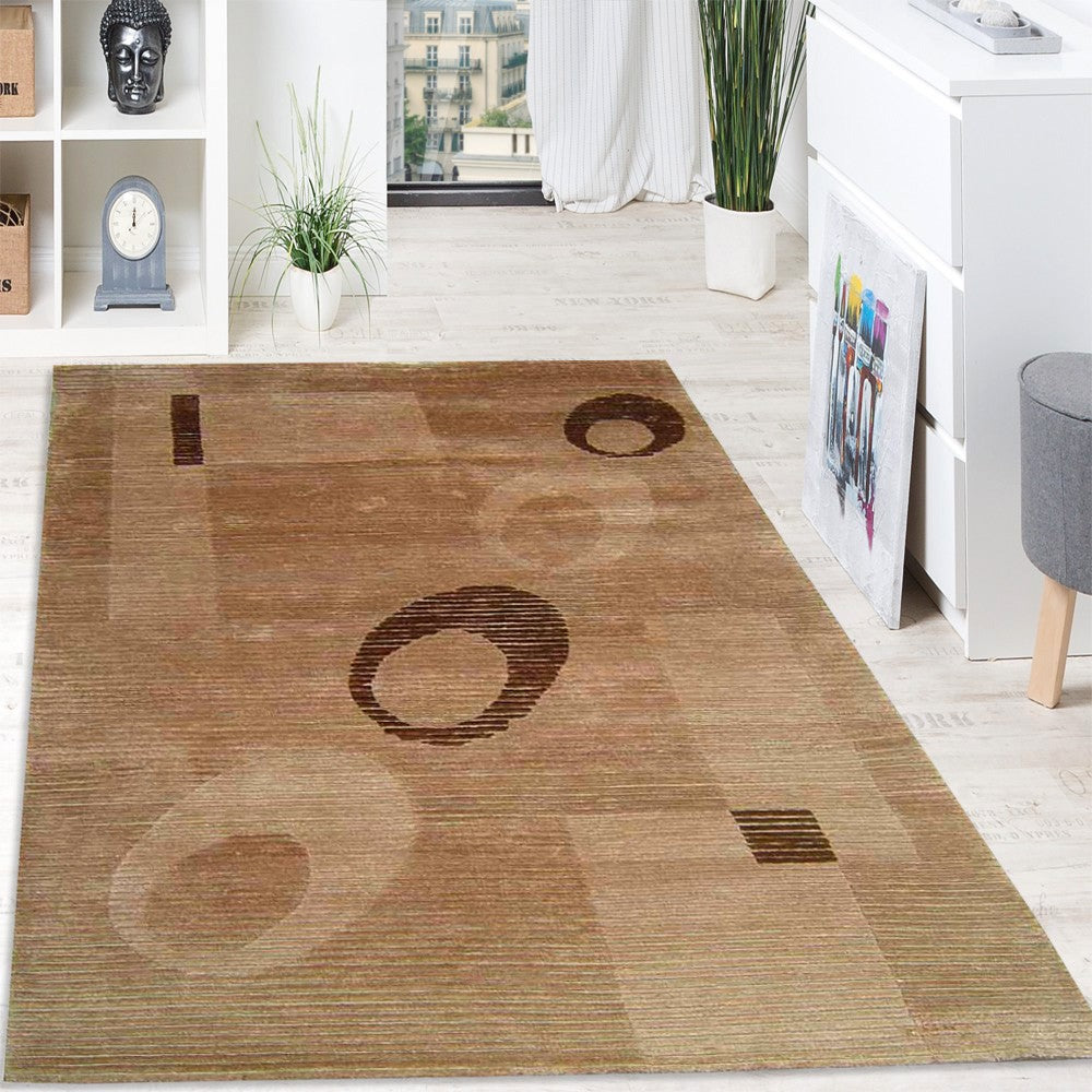 niaj - simple modern brown area rug