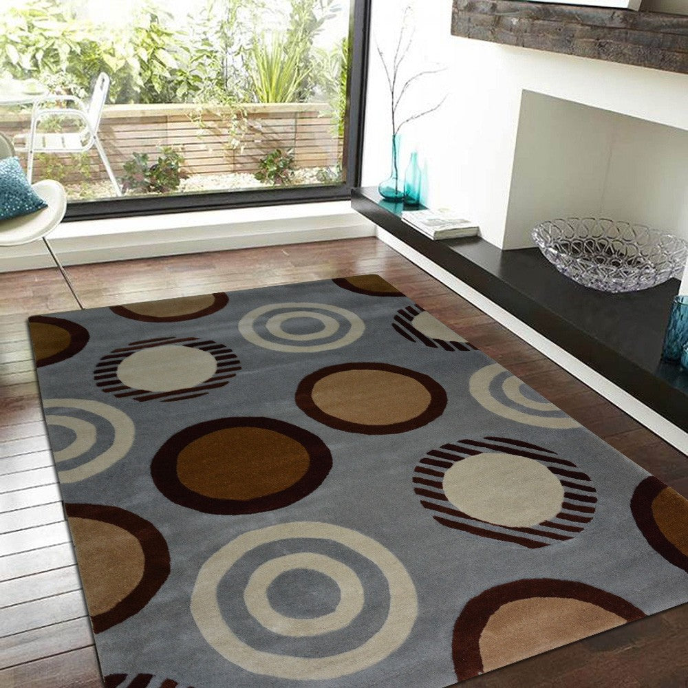 rongvong - simple brown living area rug