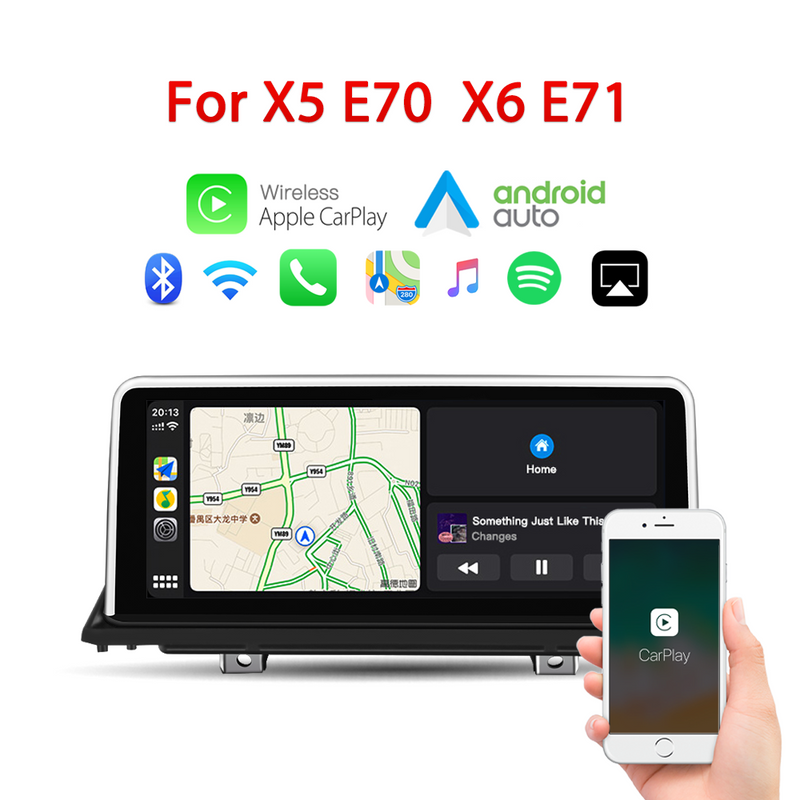 "10.25"" wireless Apple CarPlay + Android auto  for BMW X5 X6 E70 E71 E72 CCC/CIC GPS navigation Head unit"
