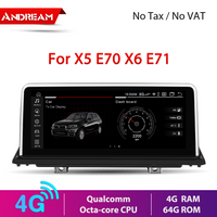 """10.25"""" Android 10.0 4G+64G Qualcomm Octa-core built-in 4G-LTE IPS Car Interface MultiMedia for BMW X5 E70 X6 E71 2007-2013 GPS navigation Head unit"""