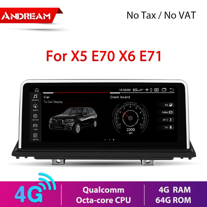 "10.25"" Android 10.0 4G+64G Qualcomm Octa-core built-in 4G-LTE IPS Car Interface MultiMedia for BMW X5 E70 X6 E71 2007-2013 GPS navigation Head unit"