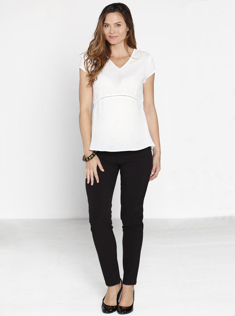 Mid Waist Straight Leg Pants - Angel Maternity