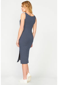 Edie Nursing Dress Navy - Pea in a Pod