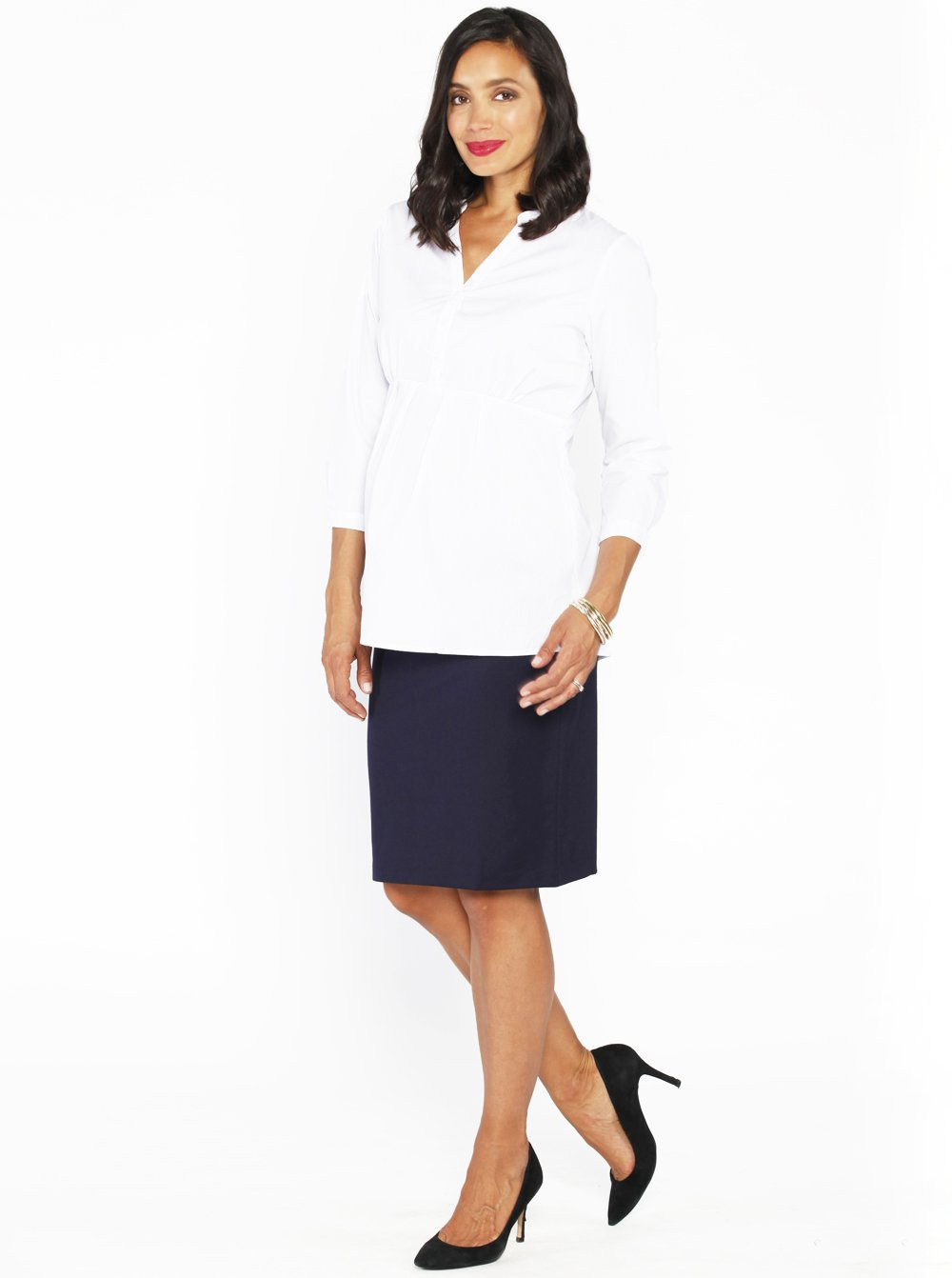 Maternity straight cut ponti work skirt - Angel Maternity