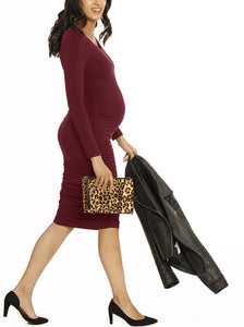Bodycon Long Sleeve Dress - Burgundy