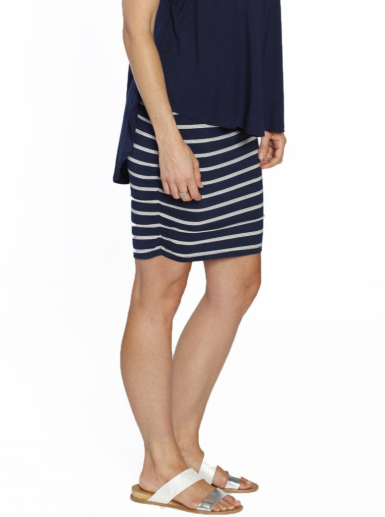Bamboo Rouched Navy Stripes - Ruby Joy