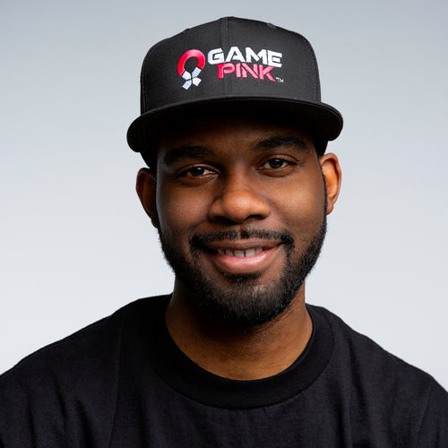 Game Pink Flat Bill Snapback Cap - Large Logo
