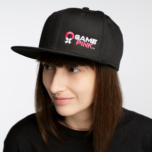 Game Pink Flat Bill Snapback Cap - Small Logo