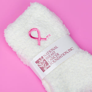 Pink Ribbon Fuzzy Socks