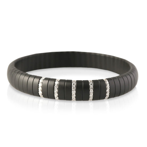 Pura Bracelet In Black Matte Ceramic And White Diamonds