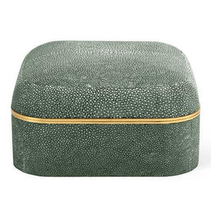 Modern Shagreen Square Box, Emerald