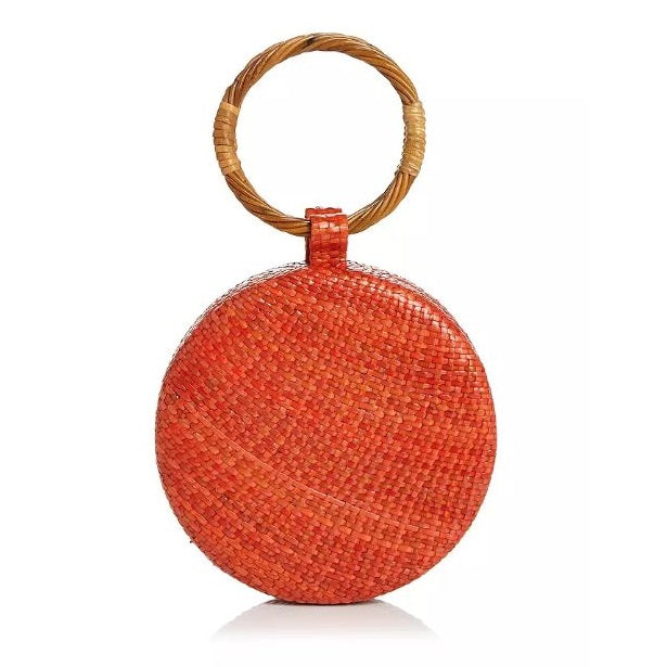 Wicker Coral Serena Circle Bag