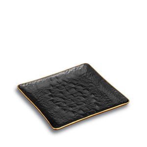 Black Crocodile Square Porcelain Tray