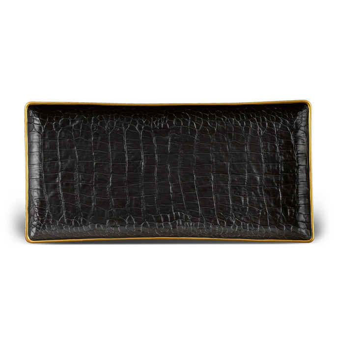 Black Crocodile Rectangular Porcelain Tray