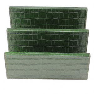 Green Croc Leather Mail Holder
