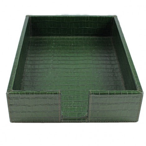 Embossed Leather Letter Tray Green