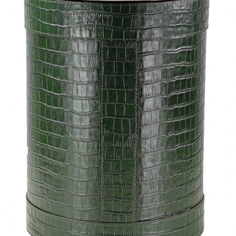 Embossed Green Leather Copper Wastebasket