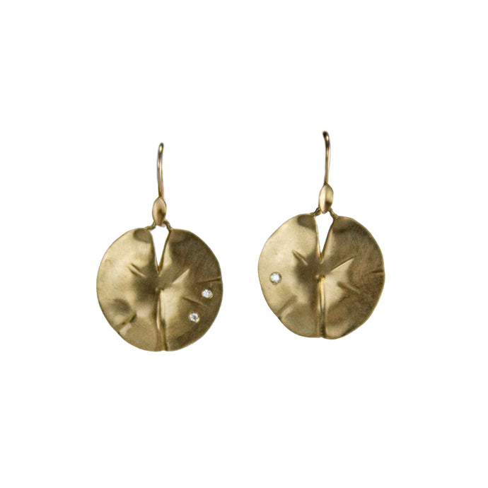 Lily Pad Earrings with Diamonds