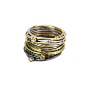 Part Oxidised Silver and 18K Gold Spaghetti Ring with Diamonds