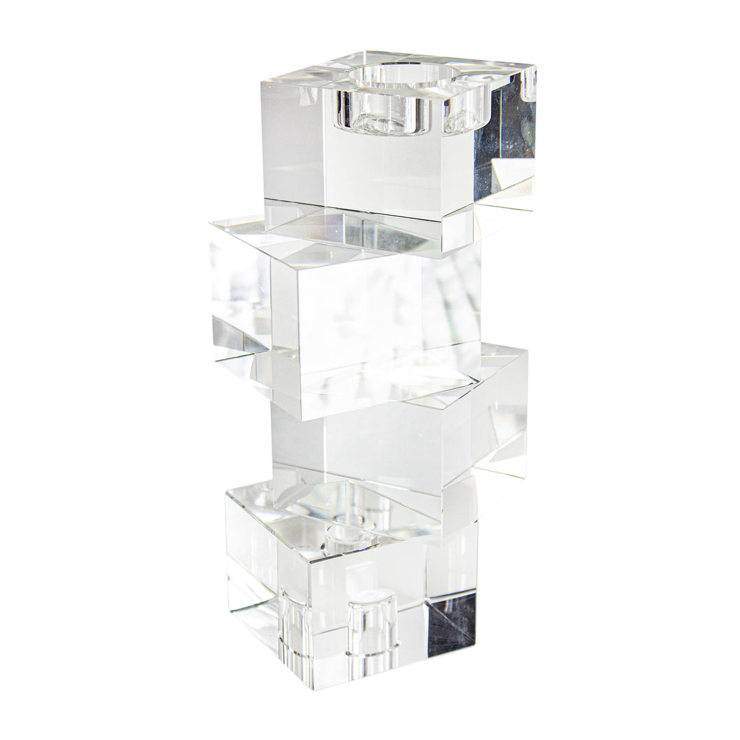 Stagger Glass 4 Cubes Candle Holder