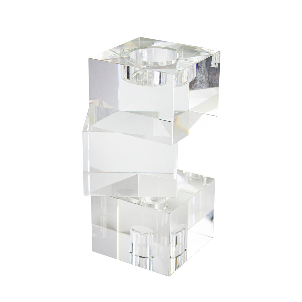 Stagger Glass 3 Cubes Candle Holder