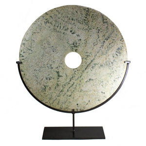Large Yellow & Green Stone Disc Object