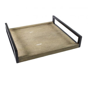 Small Caramel Shagreen & Wood Tray