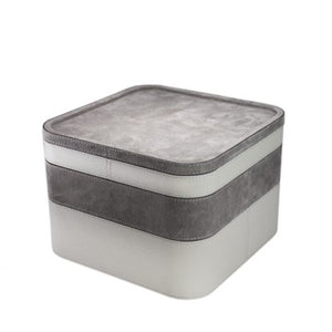 Grey Square Suede Stacking Tray 1