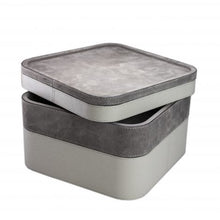 Load image into Gallery viewer, Grey Square Suede Stacking Tray 3