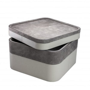 Grey Square Suede Stacking Tray 2