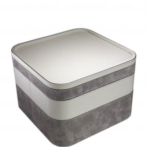 Light Grey Square Calfskin Stacking Tray