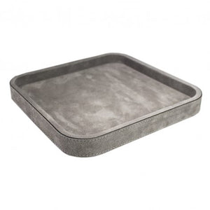 Grey Square Suede Stacking Tray 3