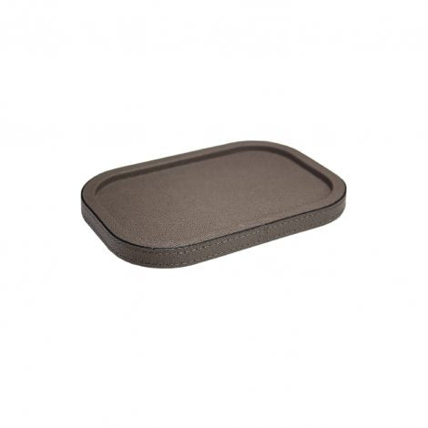 Taupe Small Rectangular Leather Stacking Tray