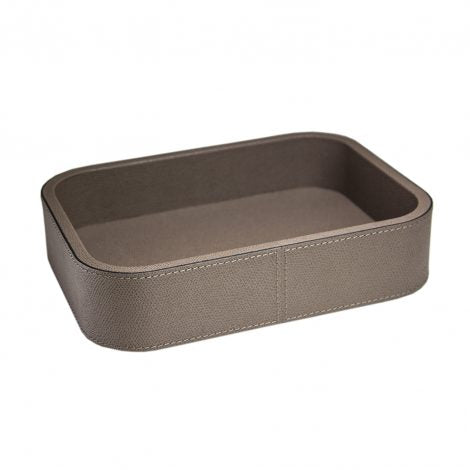 Taupe Large Rectangular Leather Stacking Tray